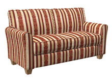 Load image into Gallery viewer, Essentials Upholstery Drapery Damask Stripe Fabric Burgundy Cream Gold / Ruby Vintage