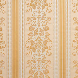 Essentials Upholstery Drapery Damask Stripe Fabric Ivory Cream Gold / Antique Vintage