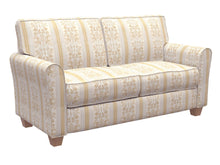 Load image into Gallery viewer, Essentials Upholstery Drapery Damask Stripe Fabric Ivory Cream Gold / Antique Vintage