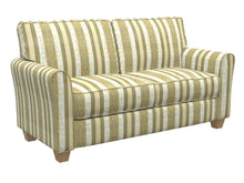 Load image into Gallery viewer, Essentials Upholstery Drapery Damask Stripe Fabric Olive Cream Gold / Juniper Vintage