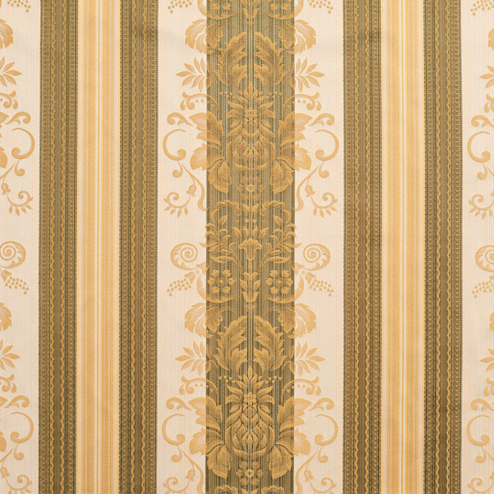 Essentials Upholstery Drapery Damask Stripe Fabric Olive Cream Gold / Juniper Vintage