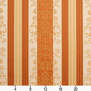 Essentials Upholstery Drapery Damask Stripe Fabric Orange Cream Gold / Amber Vintage