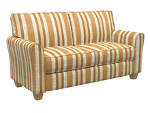Load image into Gallery viewer, Essentials Upholstery Drapery Damask Stripe Fabric Orange Cream Gold / Amber Vintage