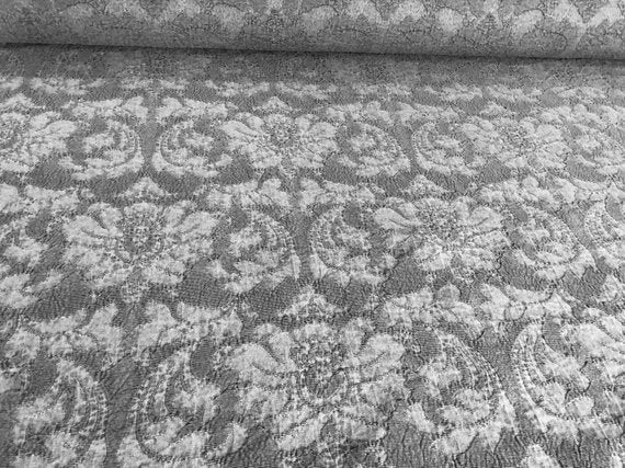 Damask Upholstery Drapery Fabric Gray Charcoal Brocade / Trianon