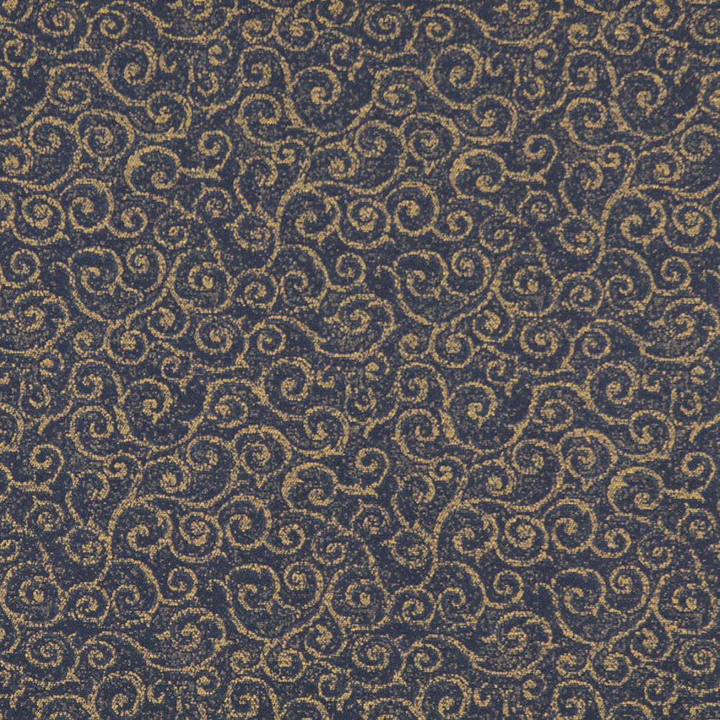 Essentials Heavy Duty Mid Century Modern Scotchgard Upholstery Fabric Dark Blue Gold Paisley / Navy