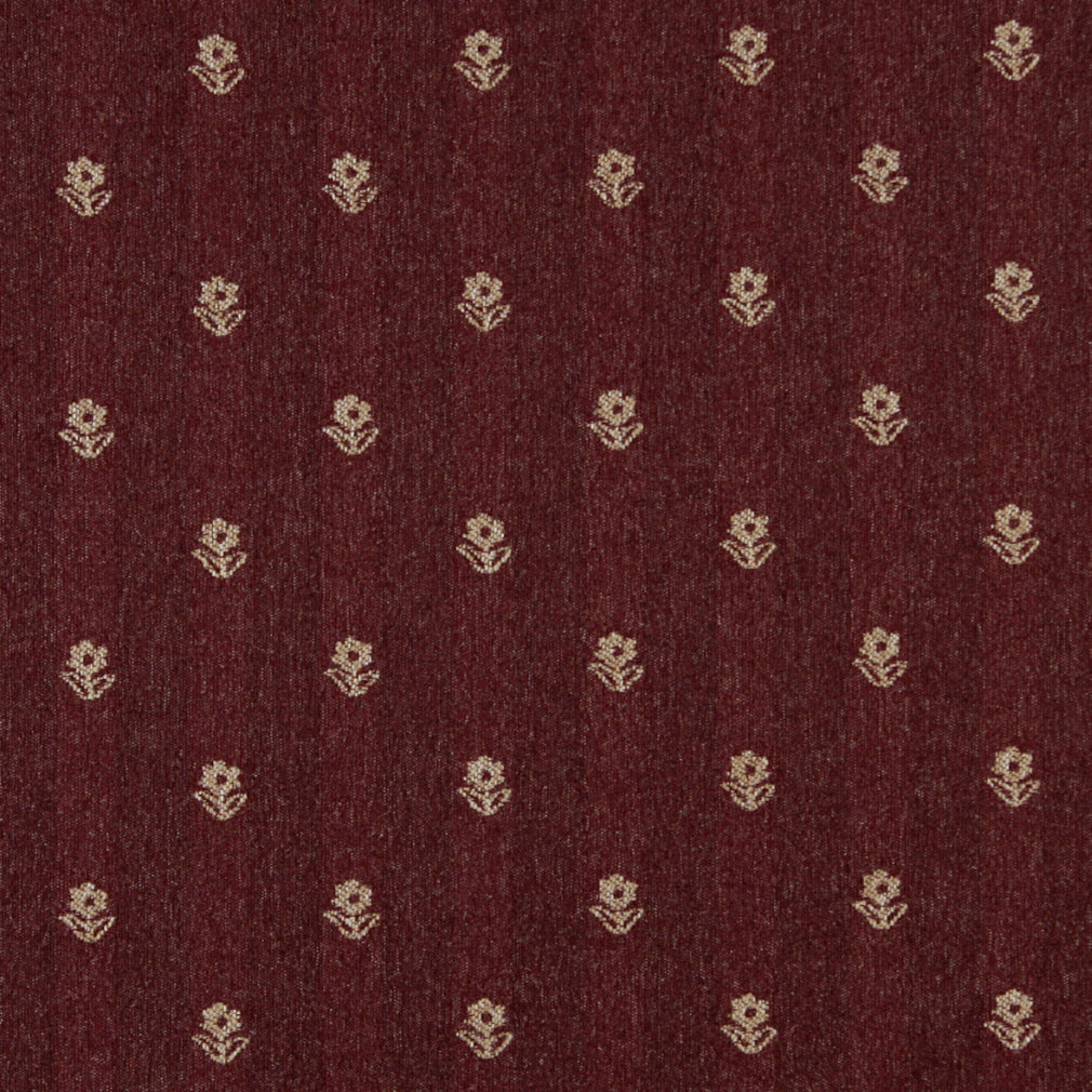 Essentials Dark Red Beige Upholstery Fabric / Burgundy Petal
