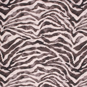 Cotton Tiger Pattern Drapery Upholstery Fabric Charcoal Gray Black / Ebony RMIL6