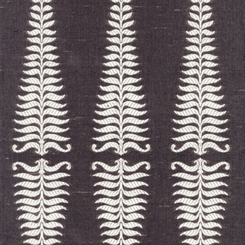 SCHUMACHER FERN TREE FABRIC / IVORY/GREY FLANNEL