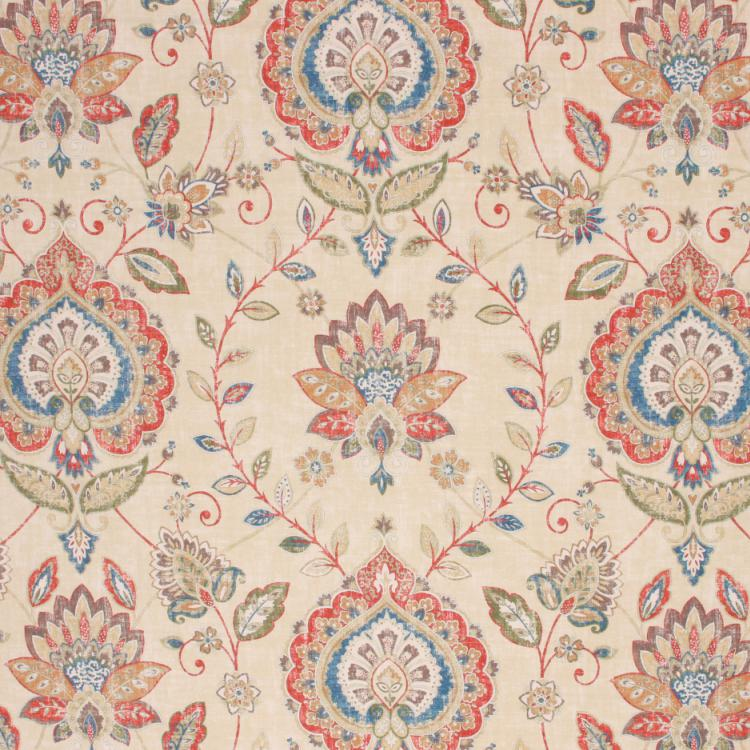 Cotton Drapery Upholstery Floral Medallion Fabric Beige Red Green Blue / Festive