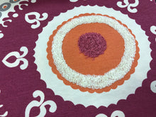 Load image into Gallery viewer, Embroidered Medallion Corded Drapery Fabric Ivory Gray Orange Magenta / Fuchsia RMBLV
