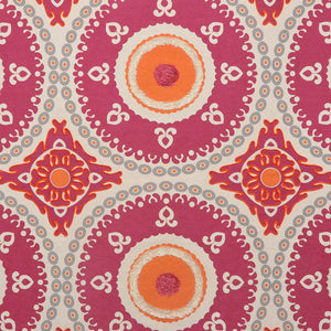 Embroidered Medallion Corded Drapery Fabric Ivory Gray Orange Magenta / Fuchsia RMBLV