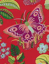 Load image into Gallery viewer, Schumacher exotic butterfly fabric / Red