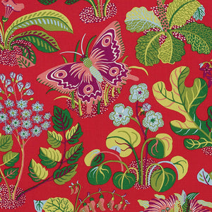 Schumacher exotic butterfly fabric / Red