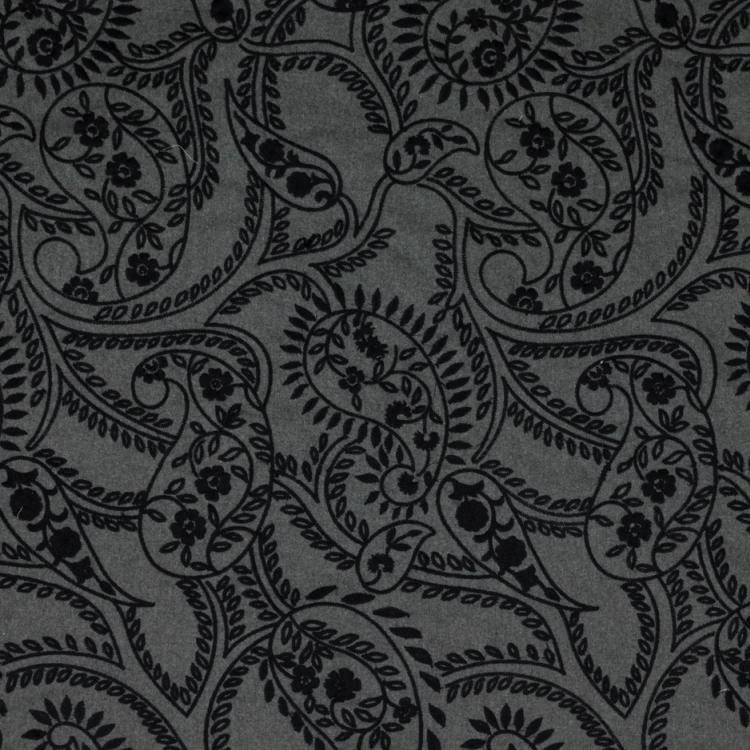 Fantasia Black Charcoal Embroidered Wool Flannel Upholstery Fabric / Flannel