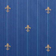 Load image into Gallery viewer, Essentials Upholstery Drapery Fleur de Lis Fabric Blue Gold / Regal Medallion