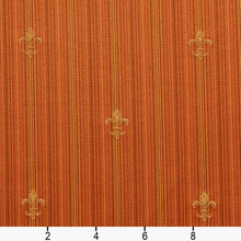 Load image into Gallery viewer, Essentials Upholstery Drapery Fleur de Lis Fabric Orange Gold / Amber Medallion