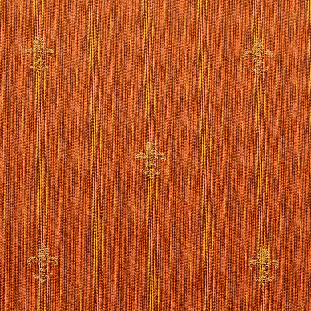 Essentials Upholstery Drapery Fleur de Lis Fabric Orange Gold / Amber Medallion