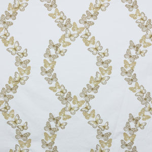 Flight of Fancy Gold Metallic Beige Embroidered Butterfly Drapery Fabric / Ormolu