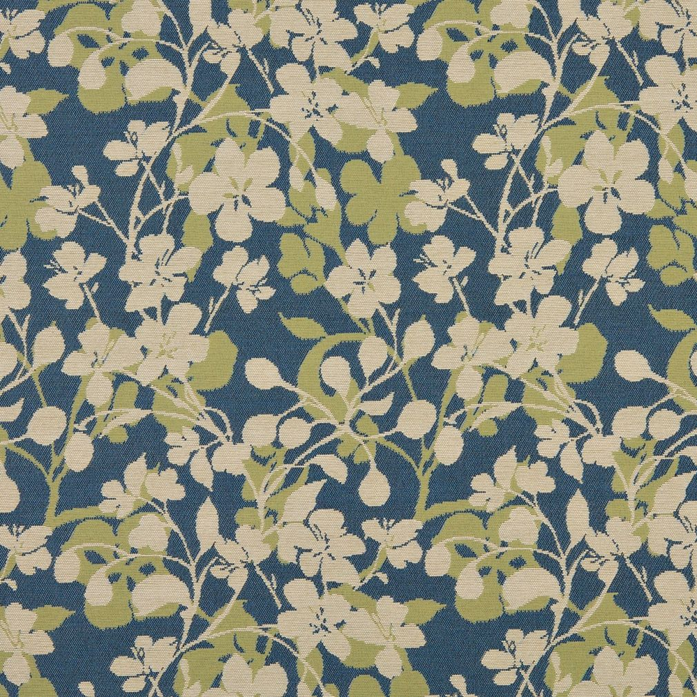 Essentials Outdoor Upholstery Drapery Floral Fabric / Blue Olive Beige