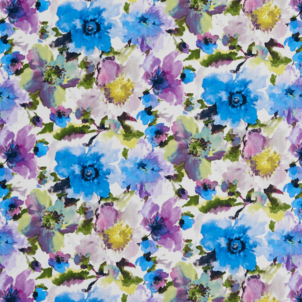 Essentials Drapery Upholstery Floral Print Fabric / Blue Purple White
