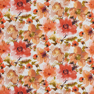 Essentials Drapery Upholstery Floral Print Fabric / Coral Pink White