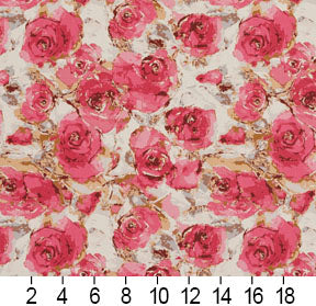 Essentials Drapery Upholstery Floral Fabric / Crimson Pink White
