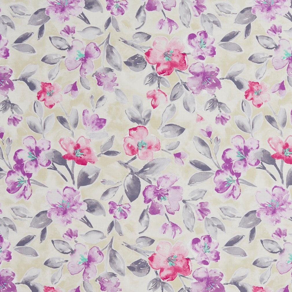 Essentials Drapery Upholstery Floral Fabric / Purple Crimson Navy