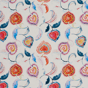Essentials Drapery Upholstery Floral Fabric / Red Blue White