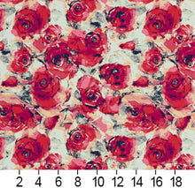 Load image into Gallery viewer, Essentials Drapery Upholstery Floral Fabric / Red Fuchsia White