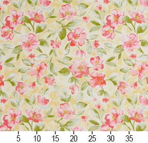 Essentials Drapery Upholstery Floral Fabric / Salmon Lime Yellow