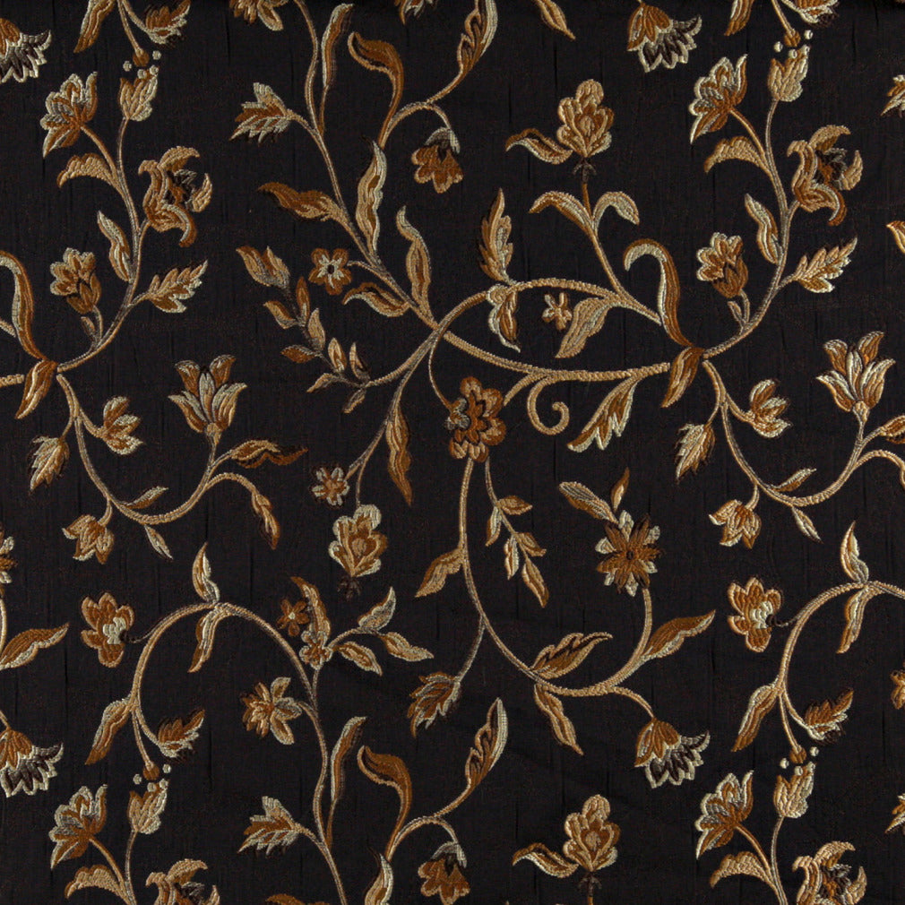Floral Vine Upholstery Drapery Black Gold Fabric Fabric Bistro