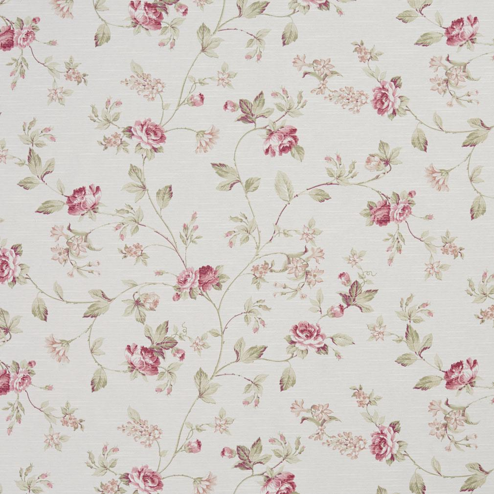 Essentials Heavy Duty Floral Upholstery Drapery Fabric / White Burgundy Green