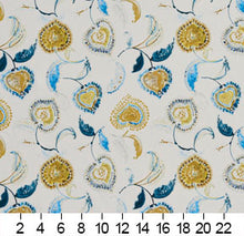 Load image into Gallery viewer, Essentials Drapery Upholstery Floral Fabric / Yellow Blue White