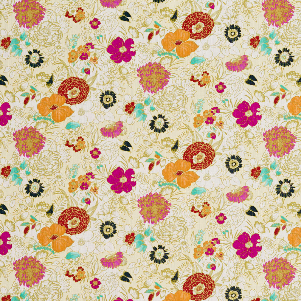 Essentials Drapery Upholstery Floral Print Fabric / Yellow Fuchsia White