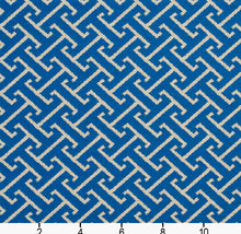 Load image into Gallery viewer, Essentials Outdoor Upholstery Drapery Fret Fabric / Blue