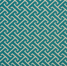 Load image into Gallery viewer, Essentials Outdoor Upholstery Drapery Fret Fabric / Teal