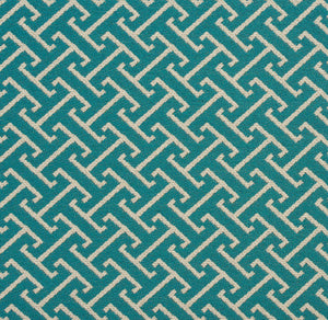 Essentials Outdoor Upholstery Drapery Fret Fabric / Teal