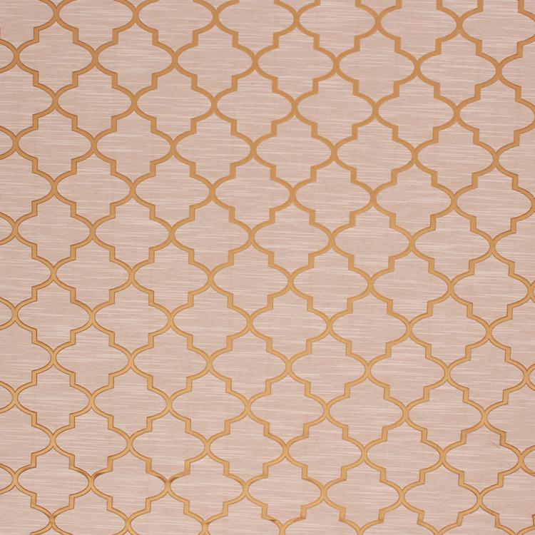 Gold Beige Geometric Trellis Lattice Drapery Fabric / Gold