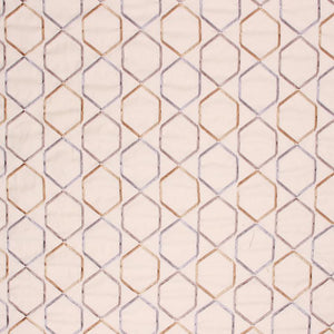 Embroidered Geometric Drapery Upholstery Fabric Ash Gray Lilac / Granite RMIL1