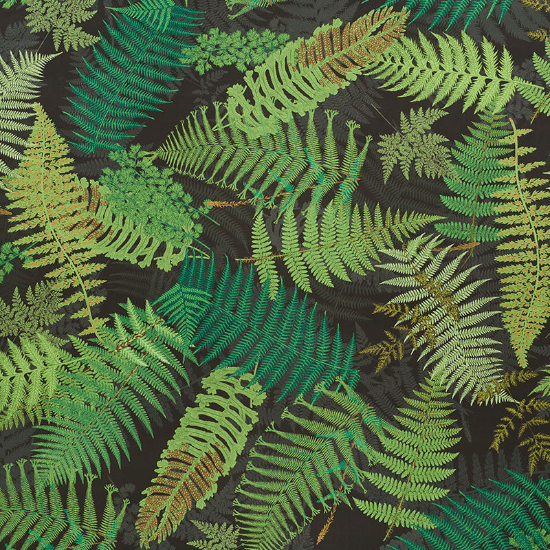 SCHUMACHER FERNARIUM FABRIC / GREEN & BLACK