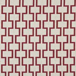 Essentials Heavy Duty Upholstery Geometric Trellis Fabric / Burgundy White
