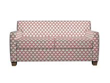 Load image into Gallery viewer, Essentials Heavy Duty Upholstery Geometric Trellis Fabric / Burgundy White