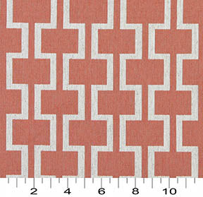Essentials Heavy Duty Upholstery Geometric Trellis Fabric / Coral White