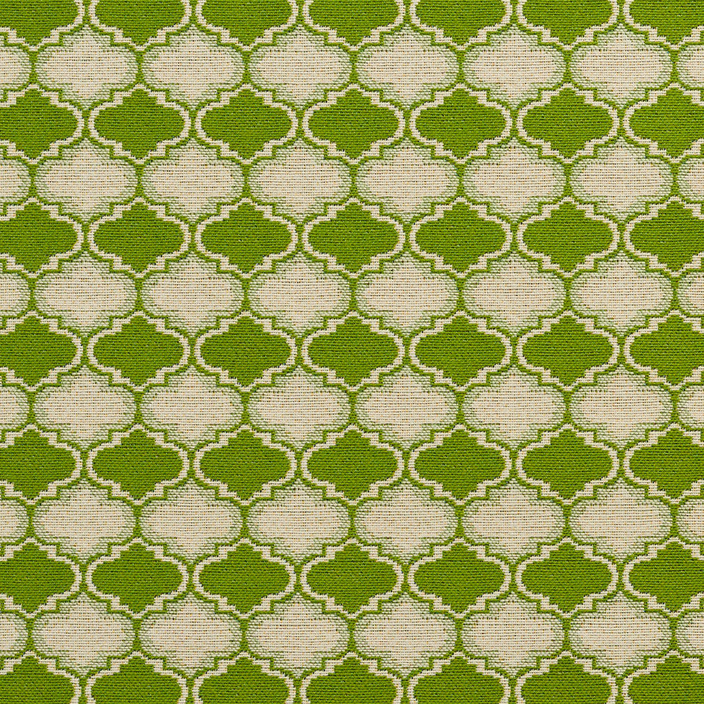 Essentials Outdoor Upholstery Drapery Geometric Trellis Fabric / Lime Beige