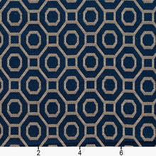 Load image into Gallery viewer, Essentials Heavy Duty Upholstery Drapery Geometric Trellis Fabric Navy / Sapphire