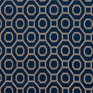 Essentials Heavy Duty Upholstery Drapery Geometric Trellis Fabric Navy / Sapphire