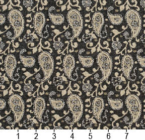 Essentials Gray Beige White Upholstery Fabric / Sterling Paisley