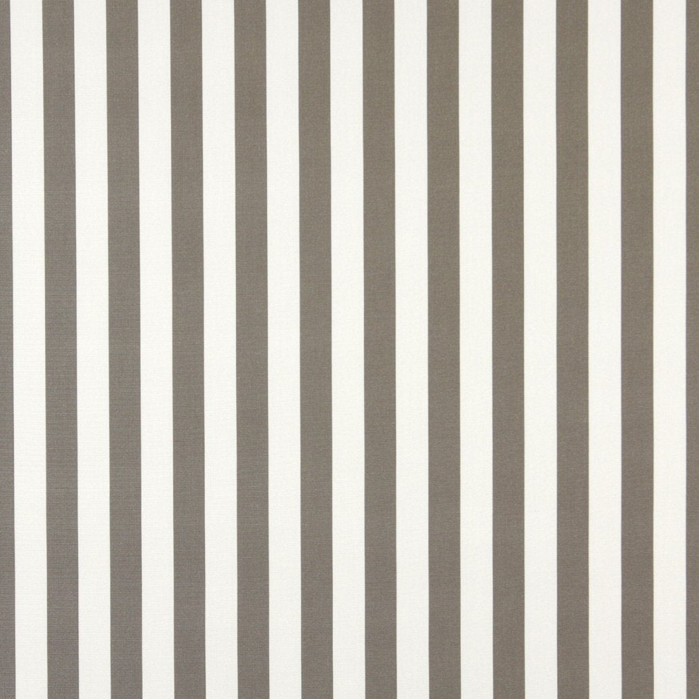 Essentials Outdoor Gray Taupe White Canopy Stripe Upholstery Fabric