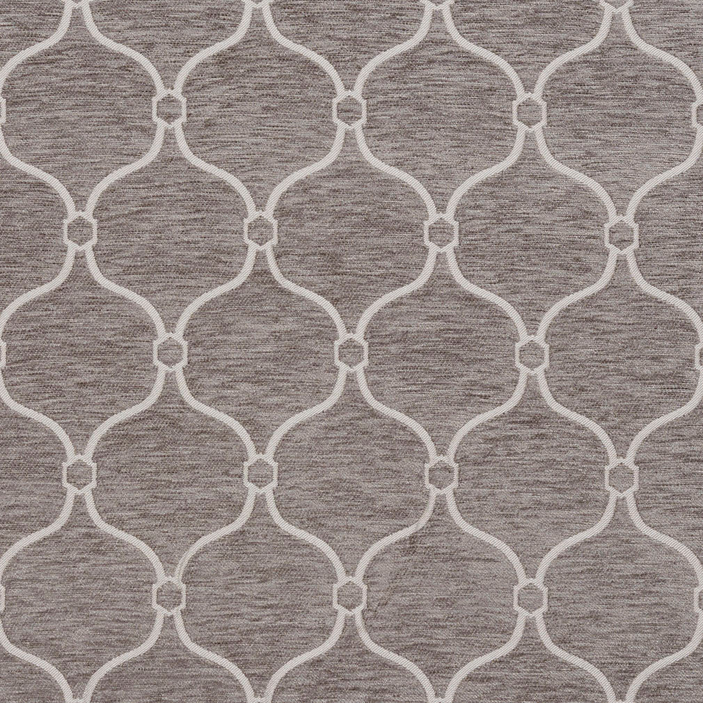 Essentials Chenille Gray White Geometric Trellis Upholstery Fabric