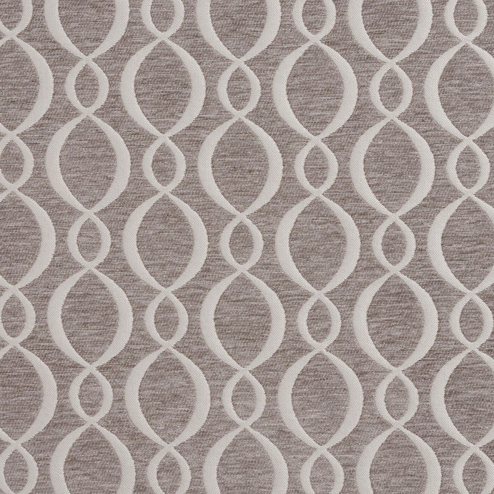 Essentials Chenille Gray White Oval Trellis Upholstery Fabric